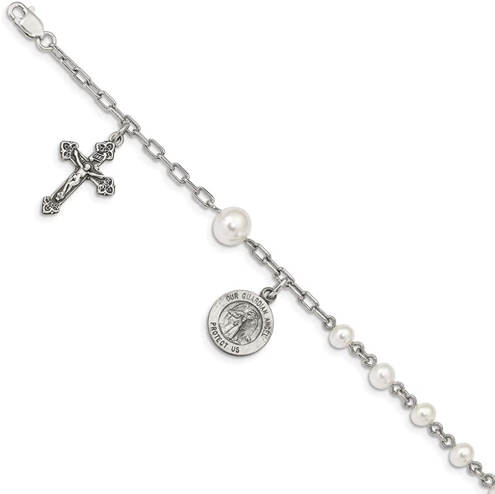 925 Sterling Silver Freshwater Cultured Pearl Rosary Bracelet 7 Inch Gemstone Religious Fine Jewelry For Women Gifts For Her