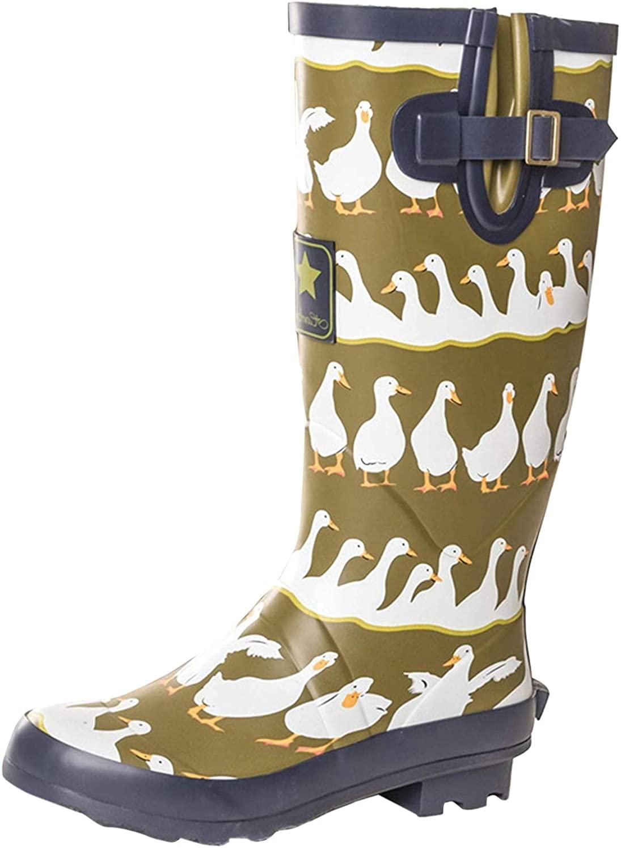 Onlineshoe Women's Funky Flat Wellie Wellington Festival Rain Boots - Assorted Colours