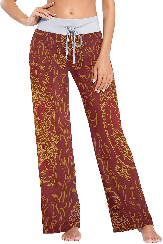 Womens Pajama Lounge Pants Art Themed Skull Wide Leg Casual Palazzo Pj Sleep Pants Girls