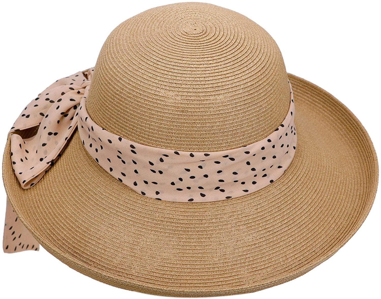 Summer Cool Foldable Portable Wide Brim Sun Beach Visor Straw Hat for Women UV Protection
