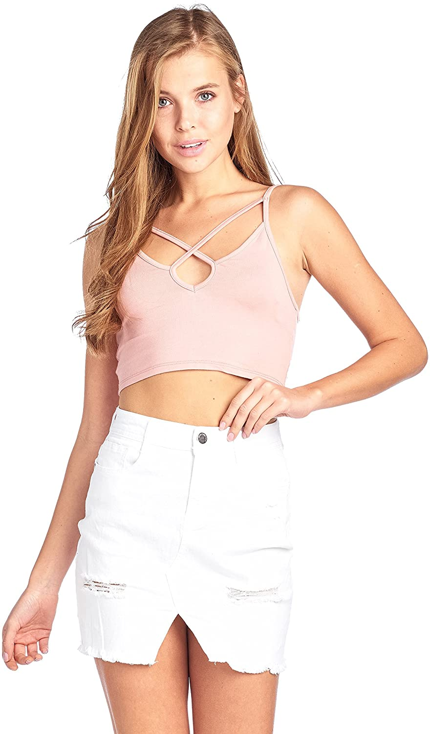 Plain Casual Stretch X Caged Strappy Cami Bralette Crop Top