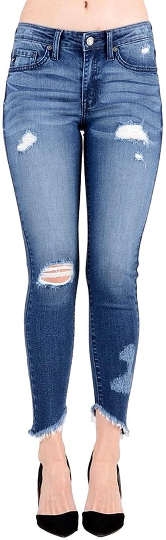 KanCan Women's Mid Rise Destroyed Skinny Jeans 3 Dark Wash KC6108D