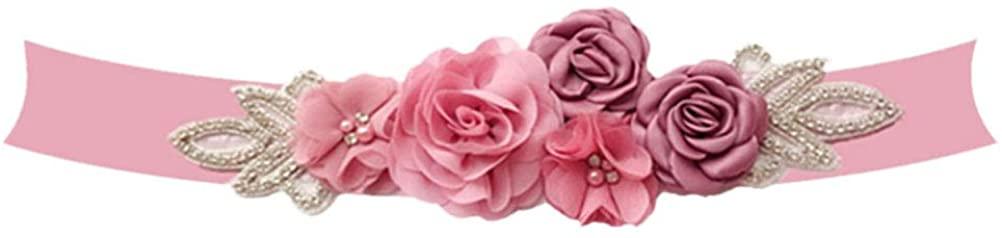 Amosfun Wedding Dress Belt Rose Pearl Bridal Dress Sash Crystal Diamond Bridal Belt Sashes for Bridal Women Ladies (White)