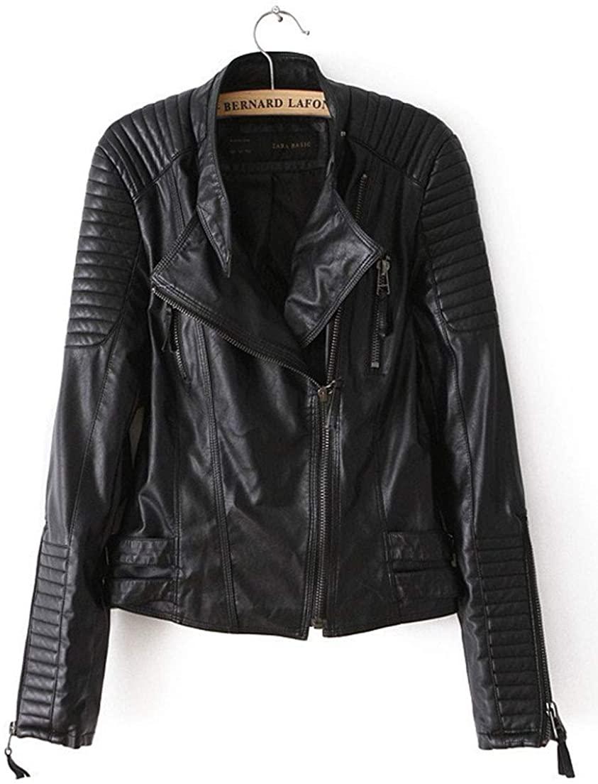 InoVa Womens Skinny Thin Jacket Faux Pu Leather Lapel Long Sleeve Moto Biker Jacket
