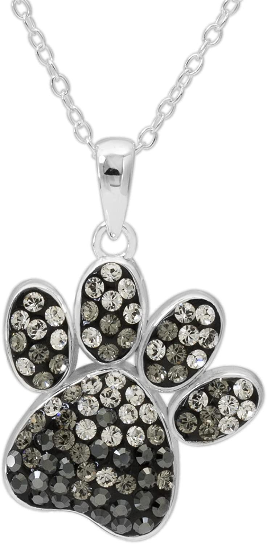 CRYSTALOGY Sterling Silver Swarovski Crystal Dog Paw Animal Pendant Necklace for Women, 18