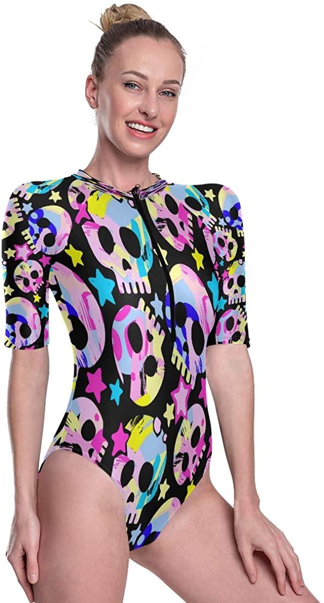 Godfery Gabriel Women's One Piece Short Sleeve Rashguard Surf Swimsuit Exotic Seamless Tropical Pattern Bathing Suit