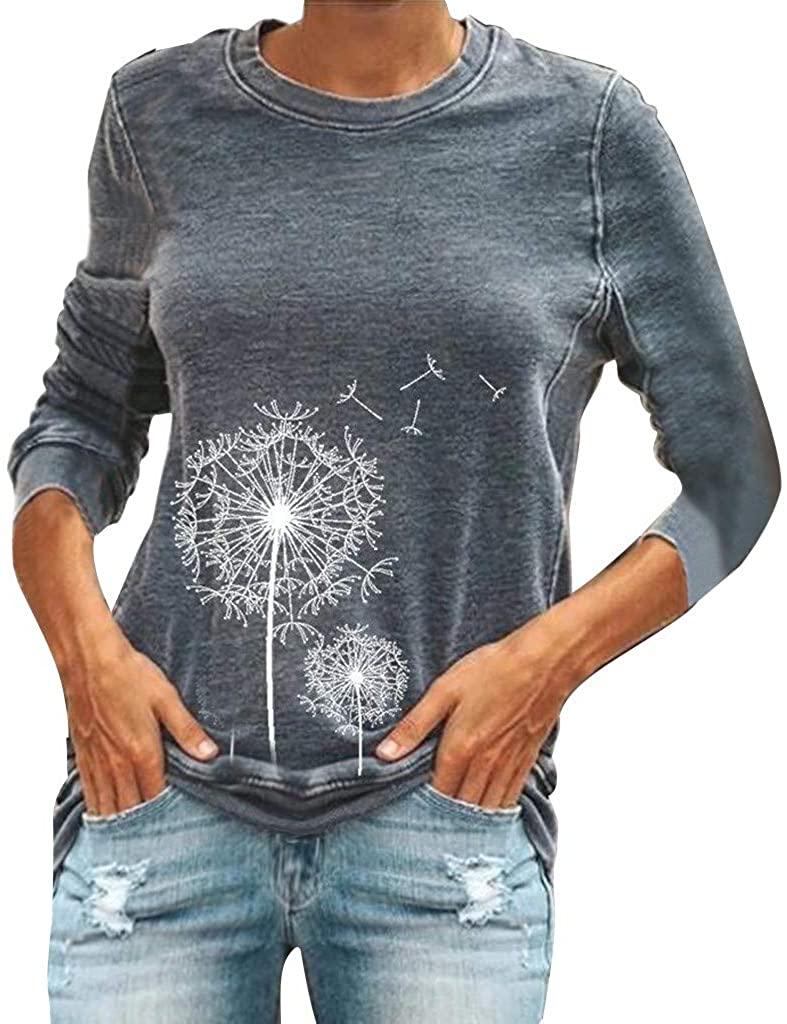 iTLOTL Autumn Women Dandelion Printed Sweatshirt Fashion Casual Long Sleeve Cute Blouse Tops