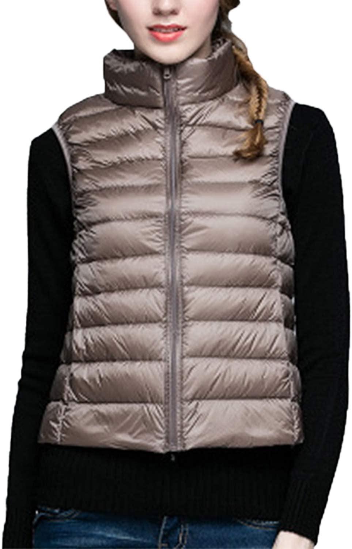 Yacun Women Outerwear Stand Collar Lightweight Gilet Quilted Zip Down Vest