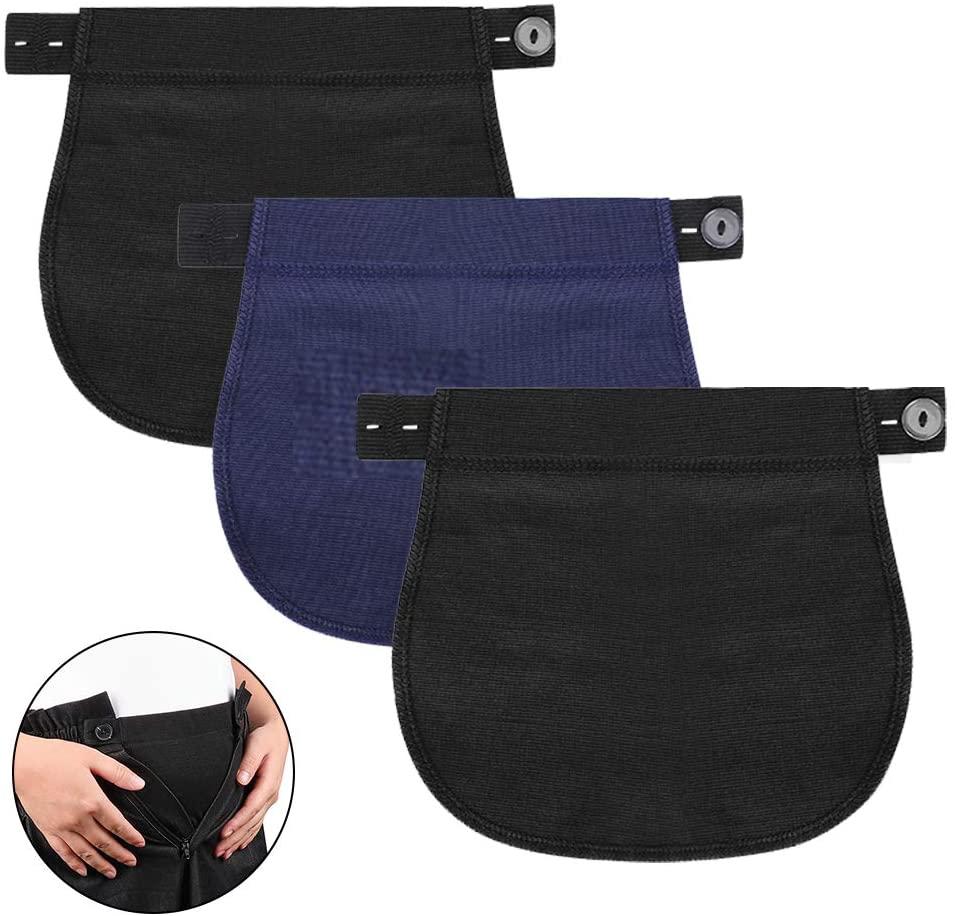 Accmor Maternity Pants Extender, 3 Packs Elastic Pregnancy Pants Extender, Adjustable Pregnancy Waistband Extender Trouser Extender for Pregnancy Women
