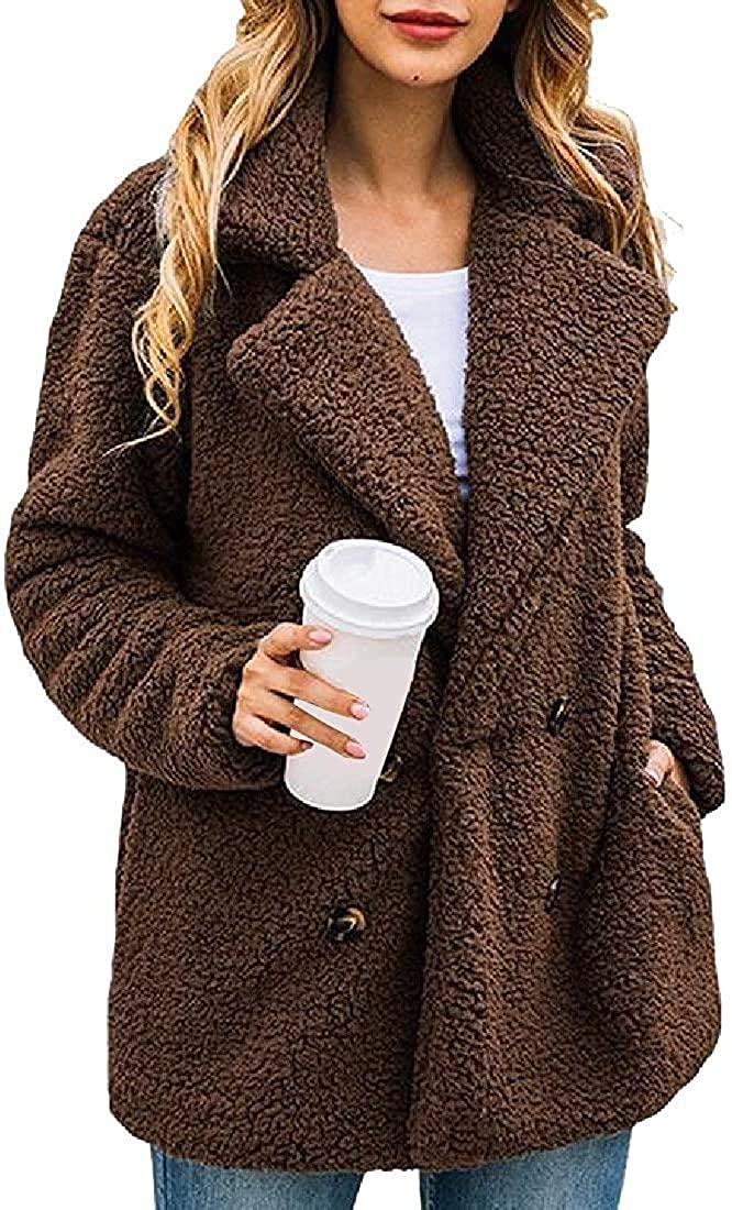 Jhsxydgy Women's Lapel Fleece Fuzzy Faux Zipper Coats Warm Winter Oversized Outwear Jackets