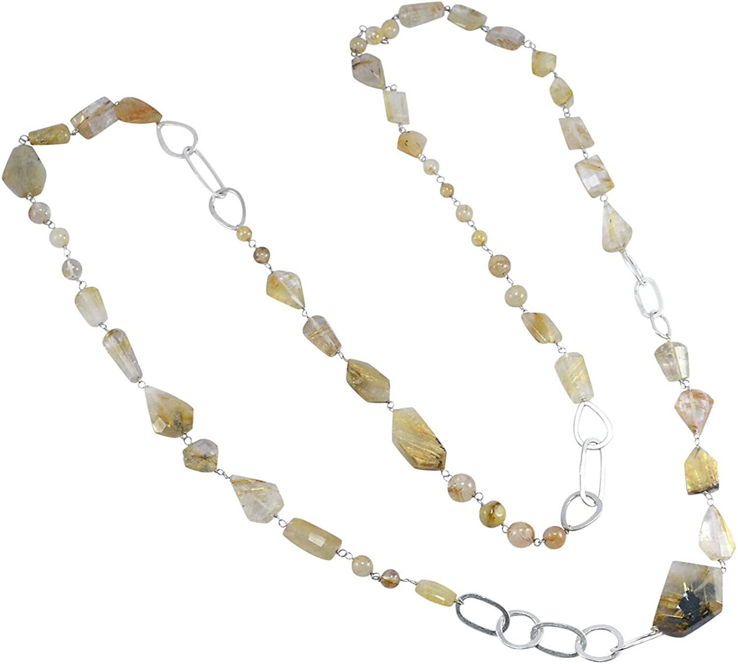 Saamarth Impex Handmade Jewelry Manufacturer 925 Sterling Silver, Yellow Golden Rutile, Length- 104 Cm Chain Necklace Jaipur Rajasthan India