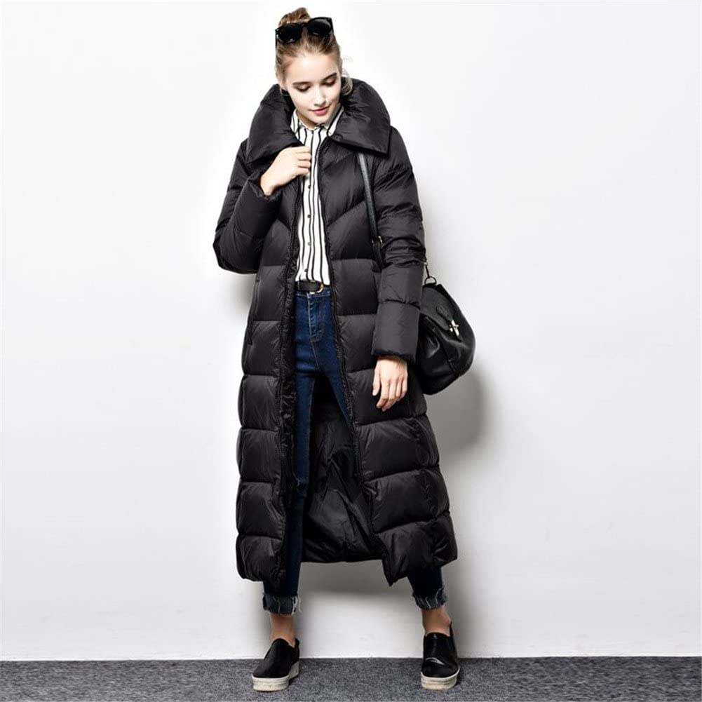 Newdeve Straight Long Winter Black Outerwear Coats for Women