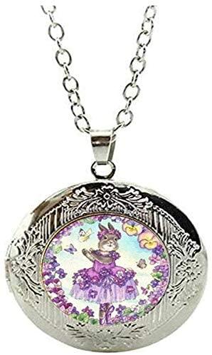 Ballerina Bunny Locket Necklace Rabbit Butterfly and Flower Jewelry Glass Art Photo Jewelry Gift