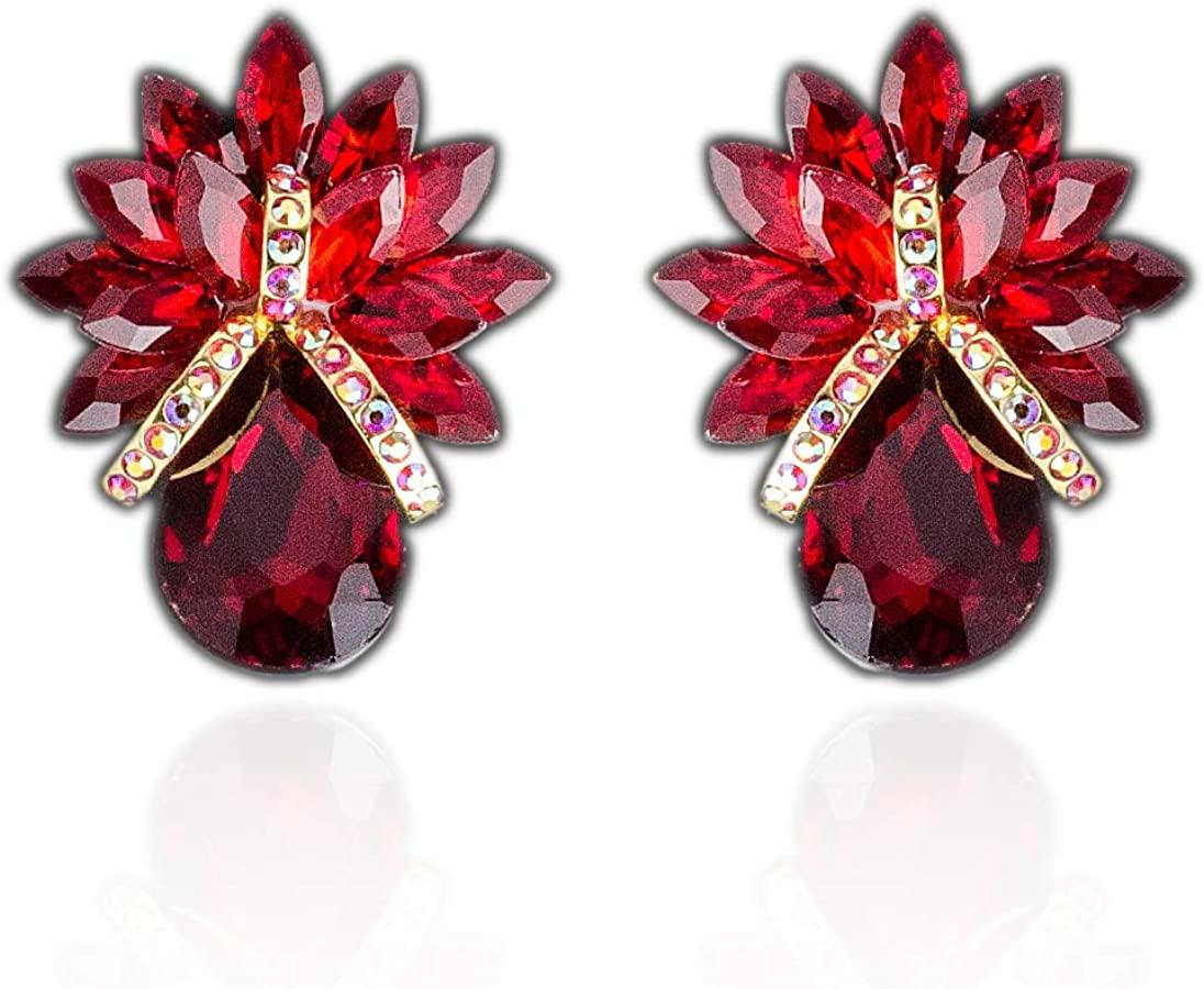 Premiere Elegance Huge Red Crystal Rhinestone Button Clip-On Earrings