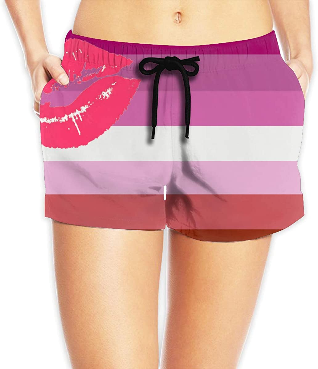 LzVong Lipstick Lesbian Pride Flag Women's Female Beach Pants Summer Beachwear Board Shorts