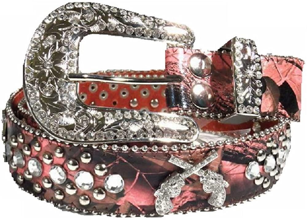 DH Leather Camo Gun Western Rhinestone Buckle Belt Pink