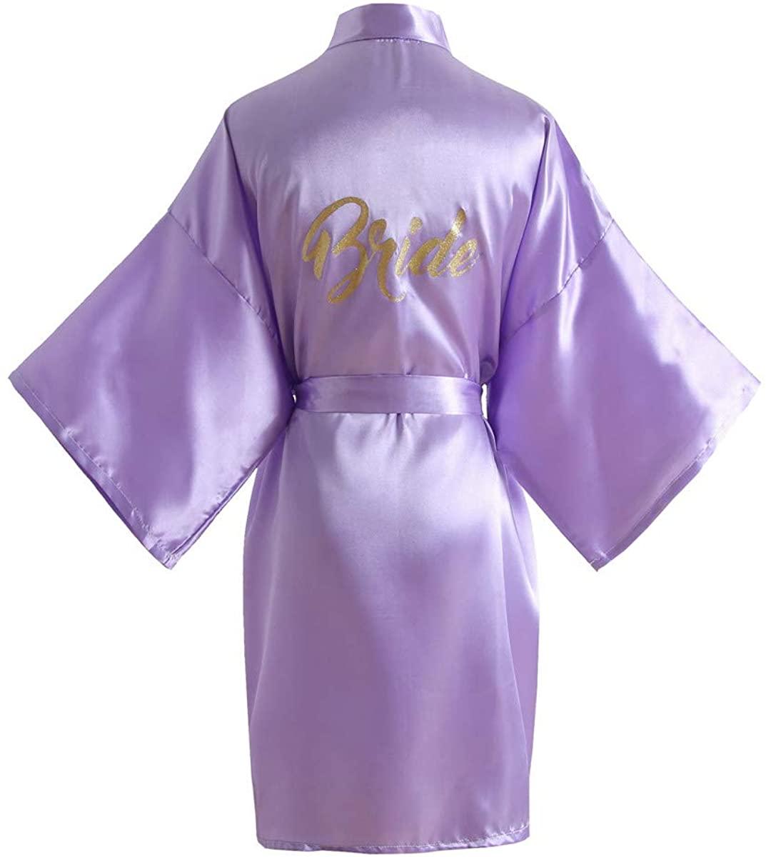 Shanghai Story Satin Bridal Robes Kimono Wedding Party Getting Ready Robe with Gold Glitter or Rhinestones
