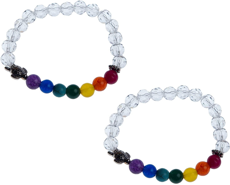 Wonder Care-Healing Natural Gemstone Yoga Meditation 8mm Beads Chakra Bracelet Reiki Healing Balancing Round Beads Rakhi Friendship Band Unisex Stretch Bracelet-pack of 2