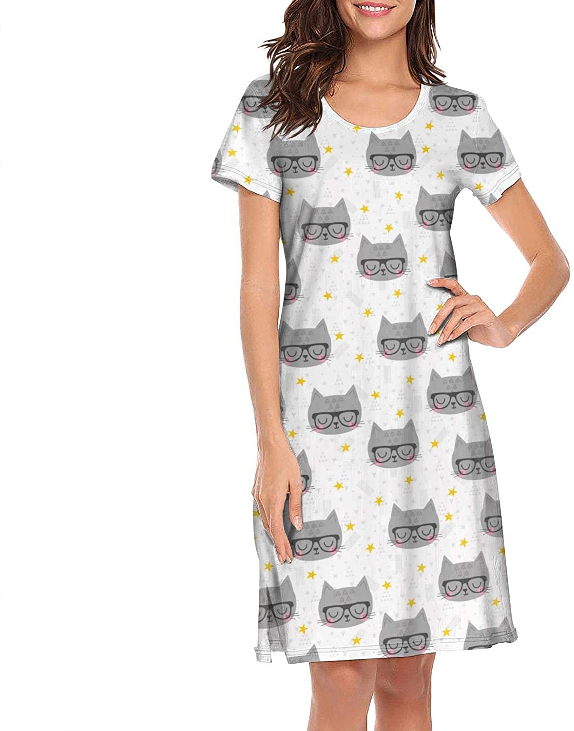 Cat Face Kitten MOEW Yellow Background Pretty WomenNighty Gown Short Sleeve Fashionable Nighty