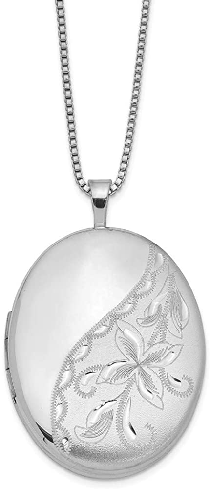 FB Jewels Solid 925 Sterling Silver Rhodium-Plated 26mm Side Flowered Oval Locket (0.79 x 1.26 Inches)