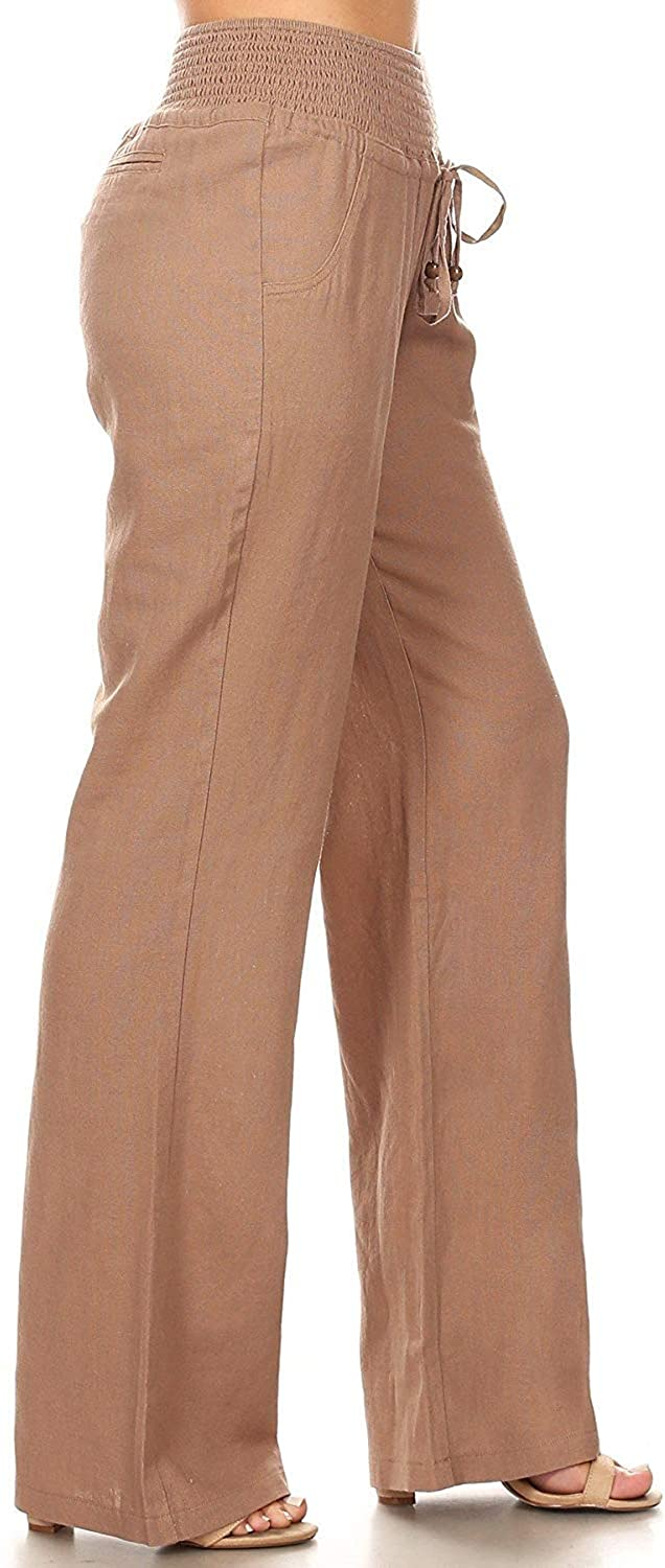 April Apparel Inc. Via Jay Women's Casual Relaxed-Fit Wide Leg High Waist Pants