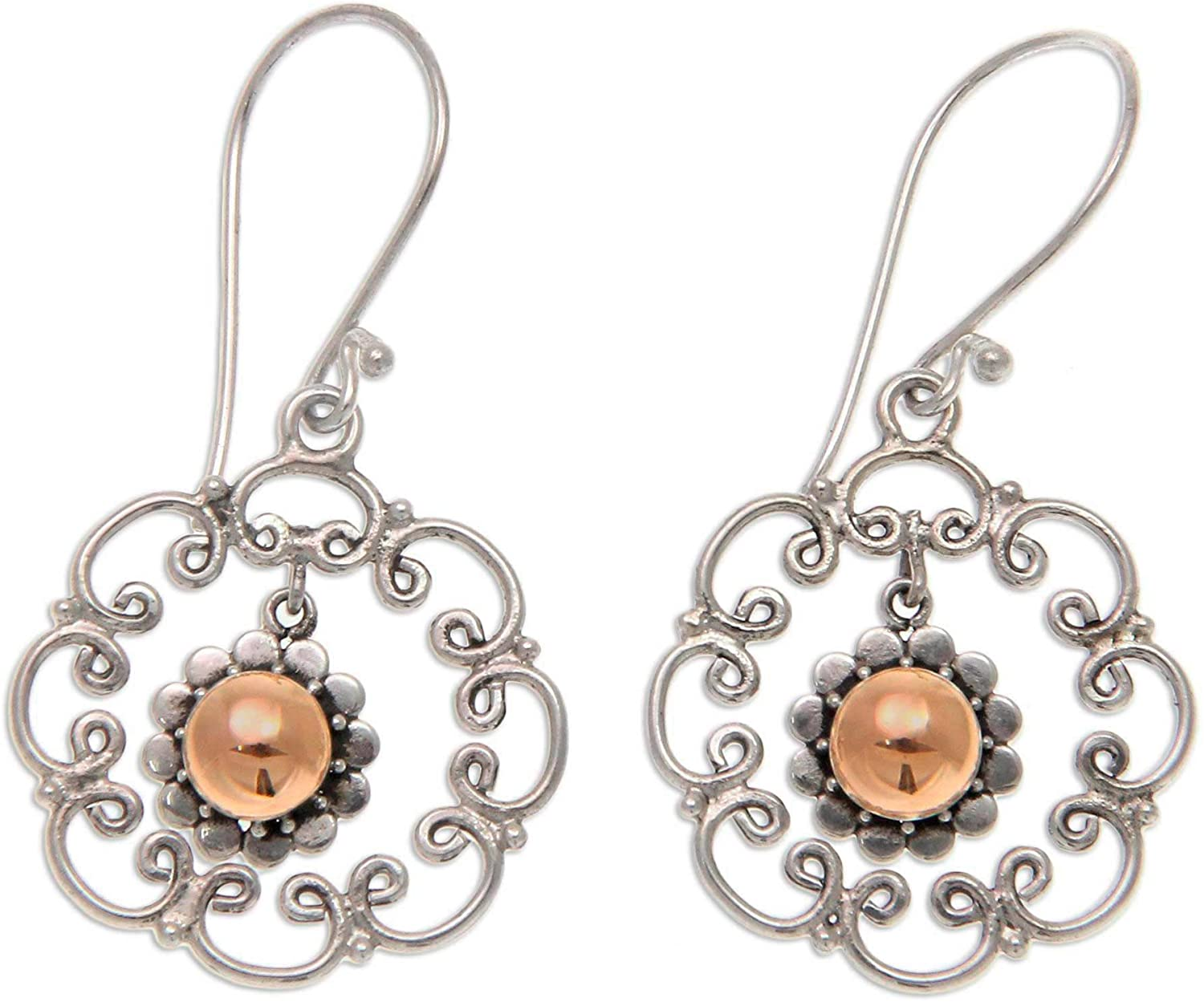 NOVICA .925 Sterling Silver Dangle Earrings with Yellow Gold Plated Accents, Delightful Denpasar