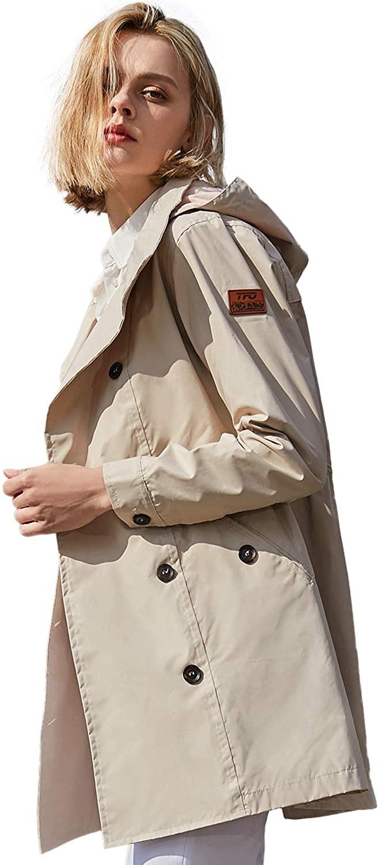 TFO Women's Rain Jacket Hooded Waterproof Lightweight Windproof Outdoor Raincoat
