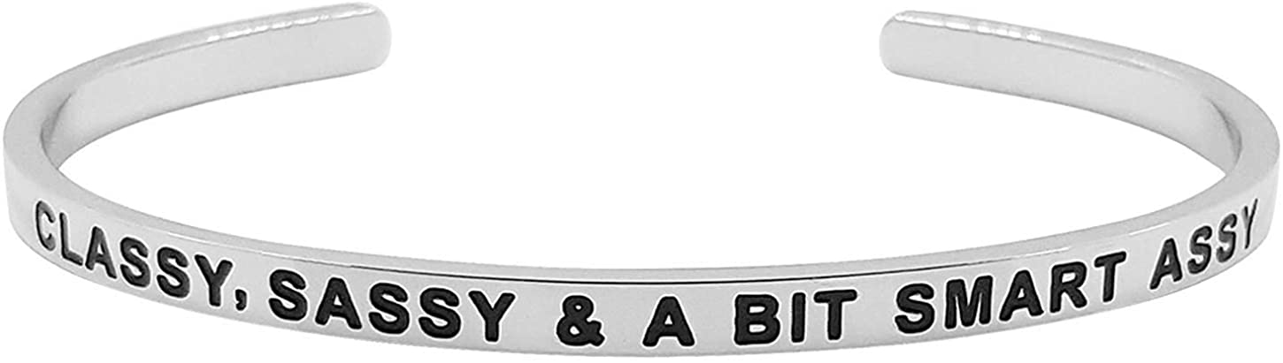 SheridanStar 'Classy, Sassy & A Bit Smart Assy'' Cuff Funny Mantra Bracelet for Teens and Women