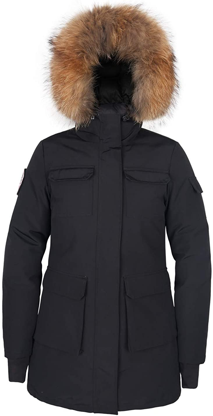 Womens Goose Down Mid Length Jacket Parka Waterproof Warm Winter Hooded Coat Arctic Military Jacket with Real Fur Hood
