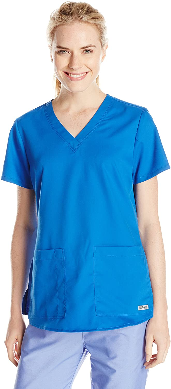 Grey's Anatomy Women's Two Pocket V-Neck Scrub Top with Shirring Back, New Royal, 5X-Large