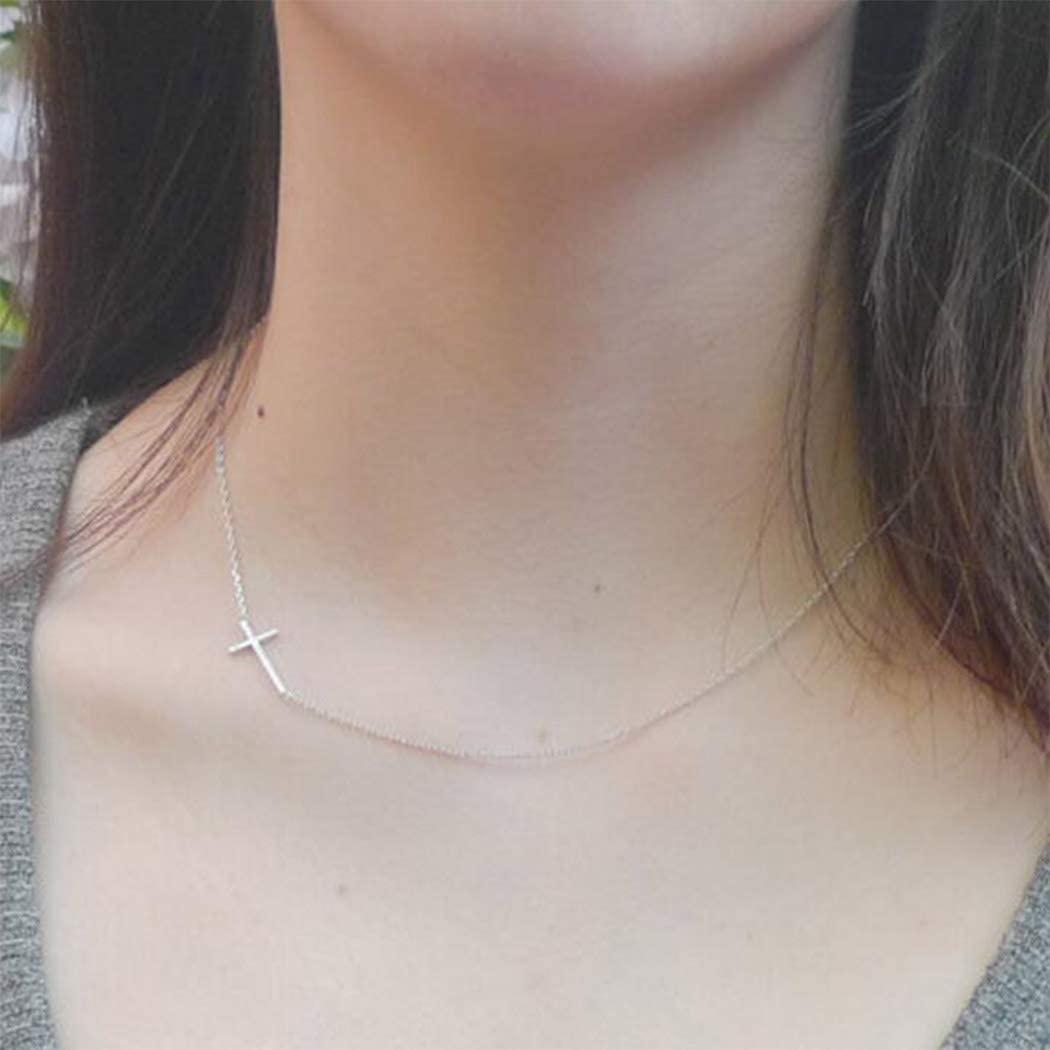 Yalice Minimalist Cross Choker Necklace Sideway Horizontal Necklace for Women and Girls