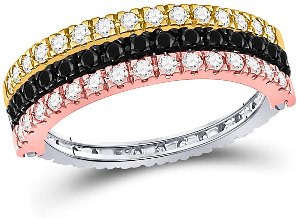 10kt Tri-Tone Gold Womens Round Black Color Enhanced Diamond Convertible Stackable Band Ring 1.00 Cttw