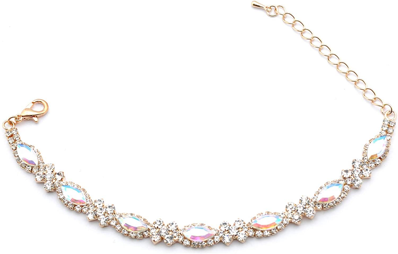 Topwholesalejewel Fashion Bracelet Gold Plating Aurora Borealis Oval Rhinestone Link Bracelet 6.5 inch