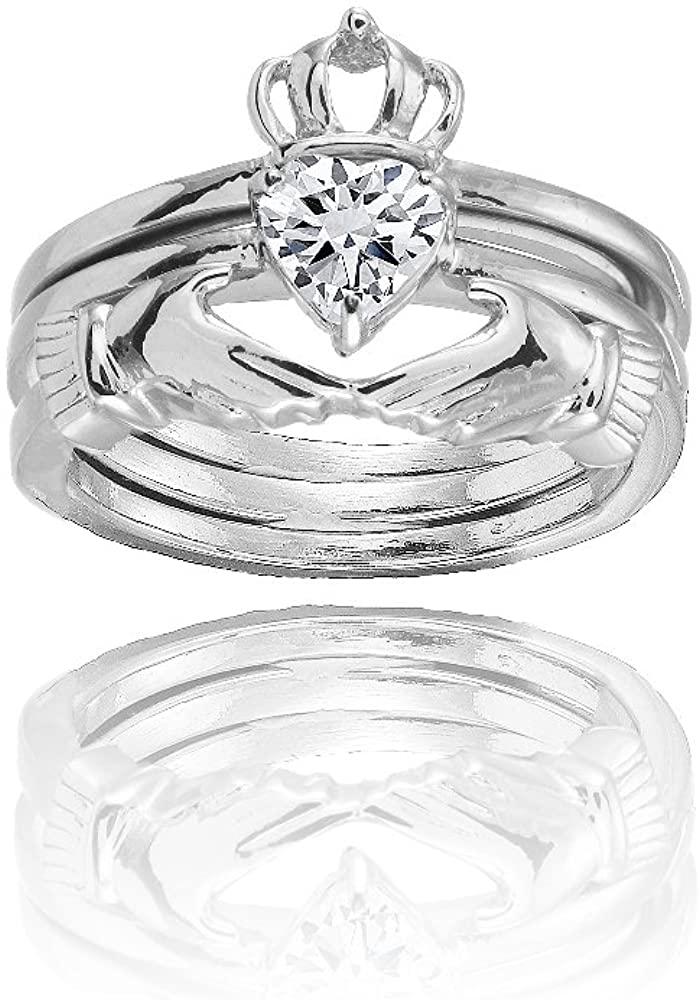 Hoops & Loops Sterling Silver Cubic Zirconia Heart Claddagh Stackable Ring Set