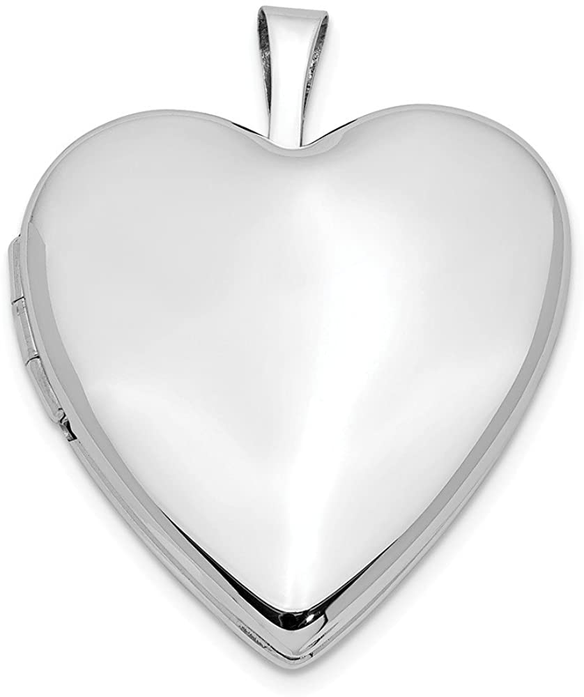 14k White Gold 20mm Plain Polished Heart Locket Pendant (20x25 mm)