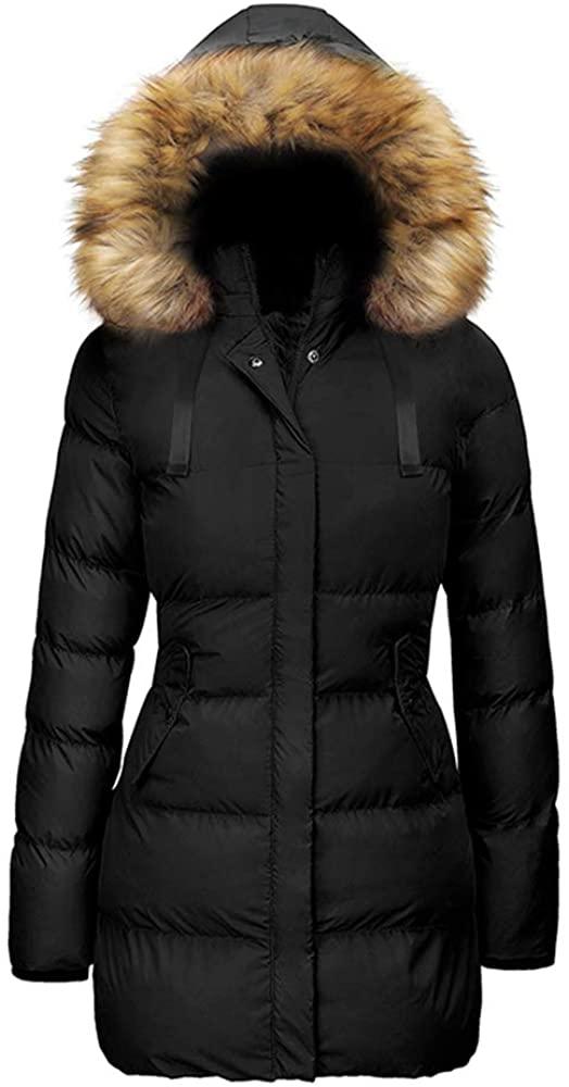 Vdnerjg Women's Winter Coat Lightweight Windproof Warm Fur Hooded Long Down Parka Puffer Jacket