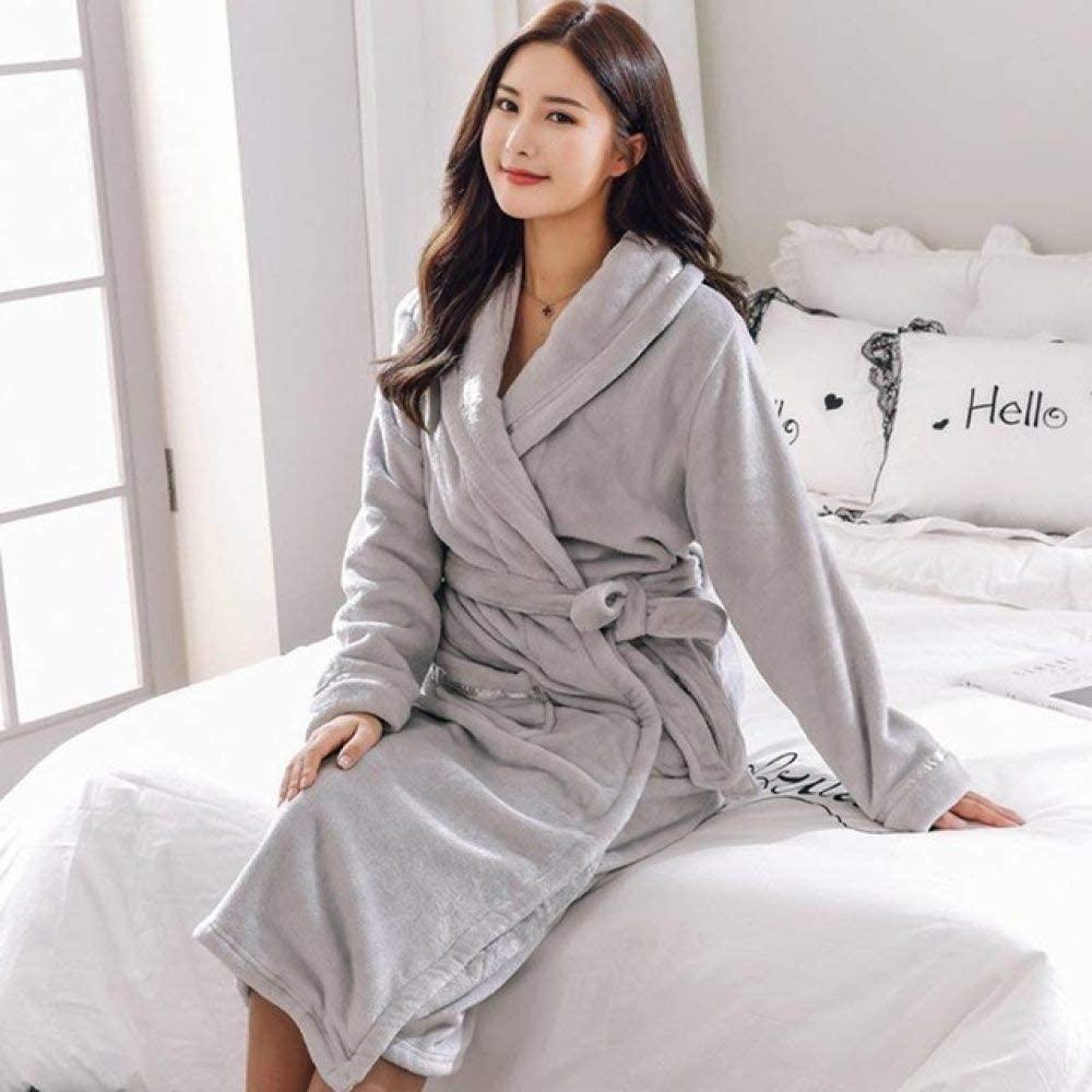 llwannr Robe Nightgown Sleep,Elegant Solid Lovers Robe Kimono Gown Exquisite Belt Sleepwear Nightgown Winter Keep Warm Women Nightwear Casual Soft Homewear,Women,L