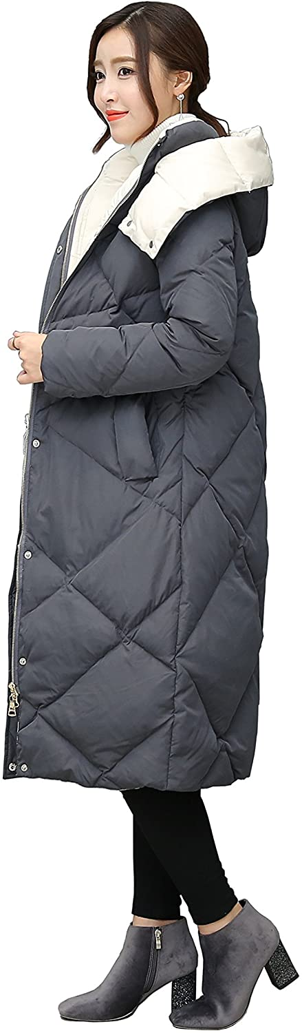 ANRISE Grey Color Big Detachablehood Long Down Jacket with 90% Real Down Fill Power Thicken Loose Warm Jacket for Women