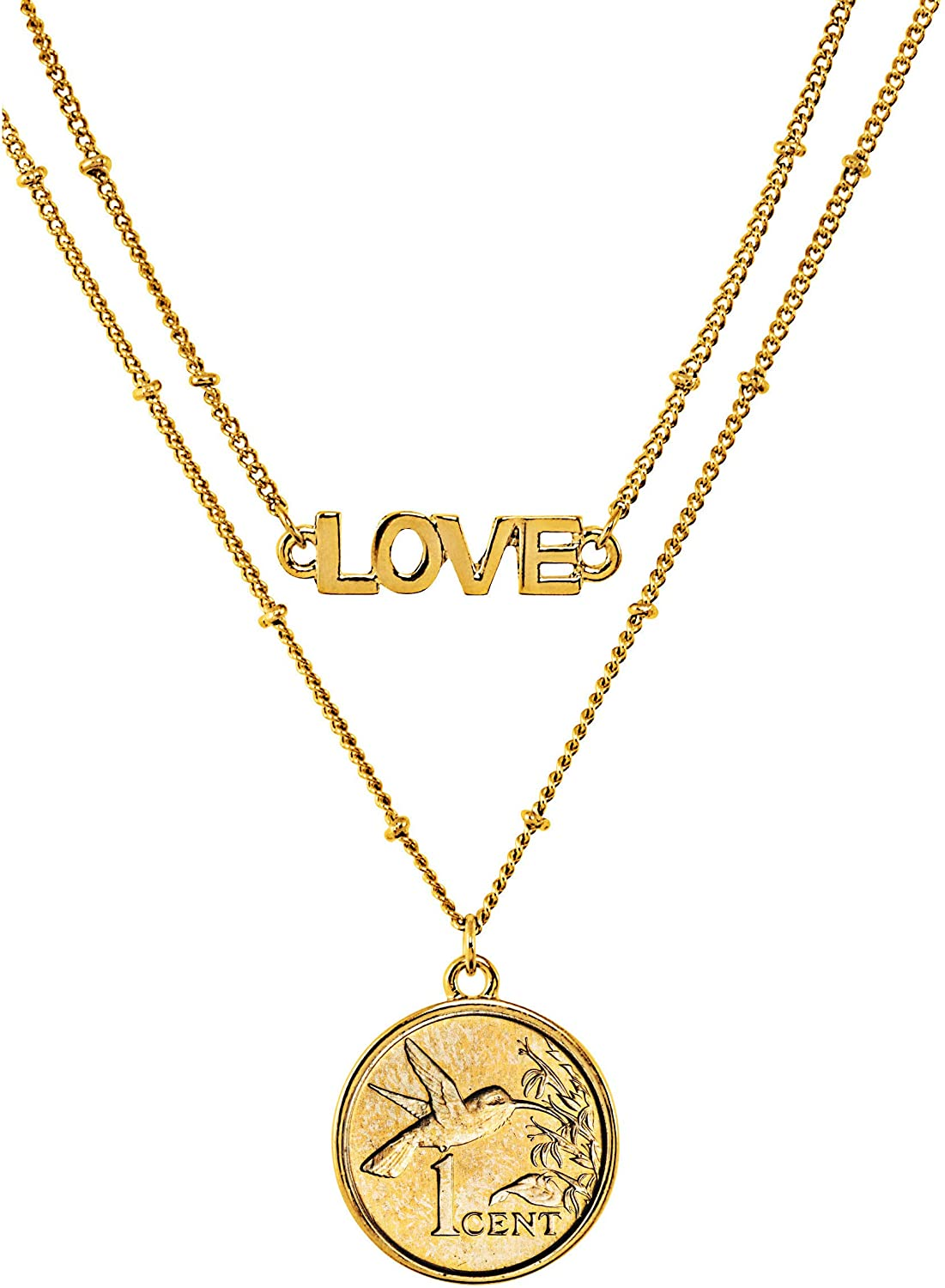 American Coin Treasures Hummingbird Coin Necklace Pendant Double Strand Love Chain– Genuine Gold-Layered Coin | Goldtone Saturn Style Chain and Lobster Claw Clasp | Certificate of Authenticity
