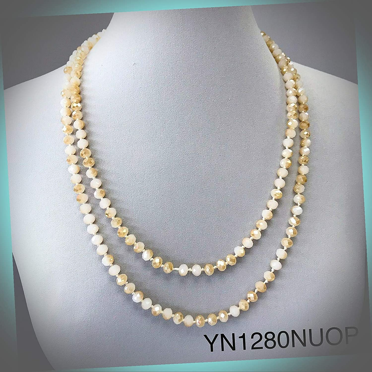 New Long Wrap Around Knotted Nude Opal Ball Beaded Style Statement Wonderful Necklace ALI-N1502E Gift for Women Girls Charm Necklace by InnaBest