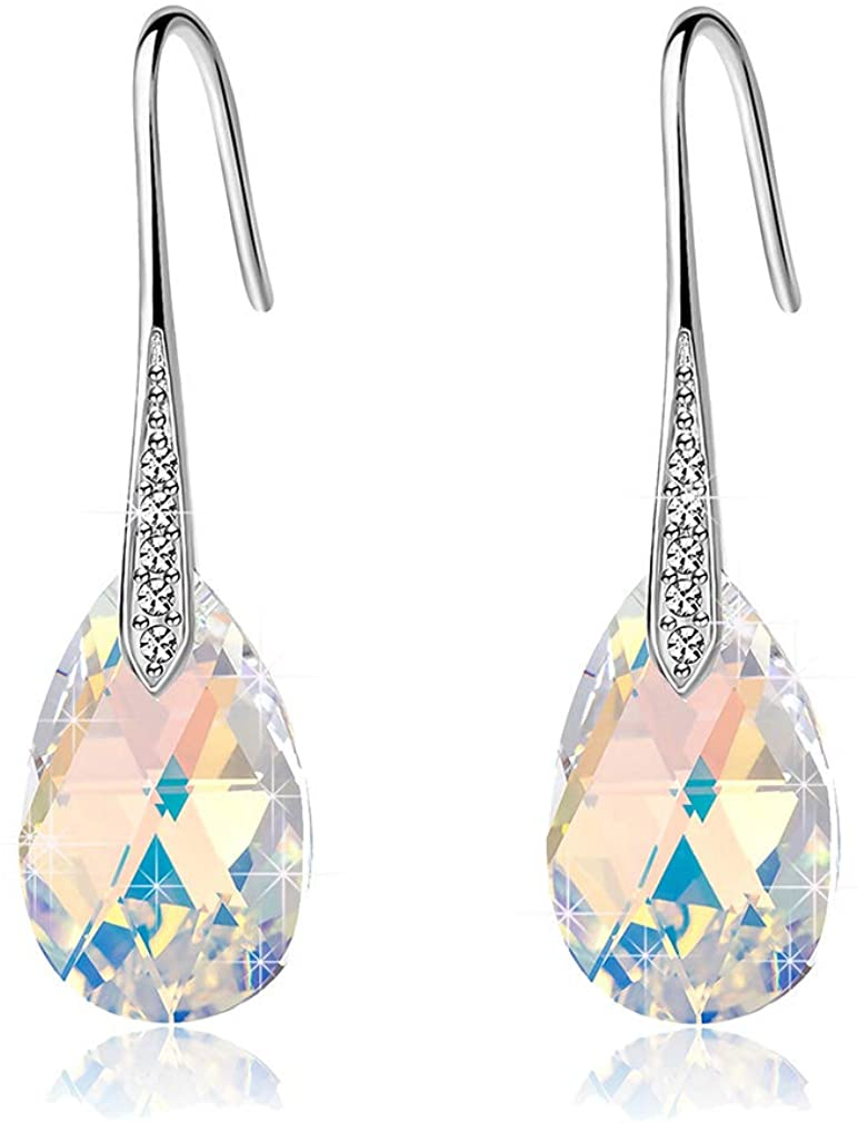 Swarovski Crystal Teardrop Dangle Earrings for Women Drop Hook Earring 14K Rose Gold Plated Hypoallergenic Jewelry