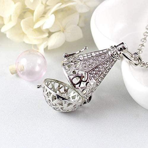 Davitu 1PC Large Teardrop Locket with Fillable Glass Orb Keepsake Locket Urn Jewelry Urn Hair Locket Pendant Cremation Jewelry - (Metal Color: Silver with Pink)