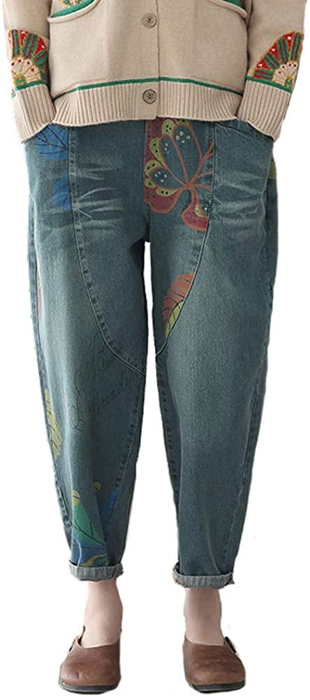 MISWSU Women Vintage Denim Cropped Harem Pants Casual Loose Elastic Waist Floral Print Boyfriend Jeans