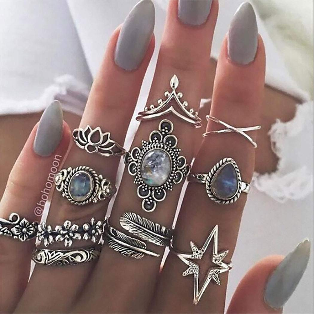 Ibliss Boho Rings Set Gem Leaf Mid Joint Knuckle Rings Silver Flower Criss Cross Crown Stackable Finger Rings Jewelry for Women and Girls 11PCS