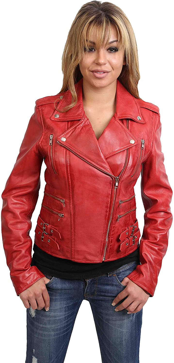 Womens Soft Red Leather Biker Style Jacket Slim Fit Casual Zip Fasten New Jane