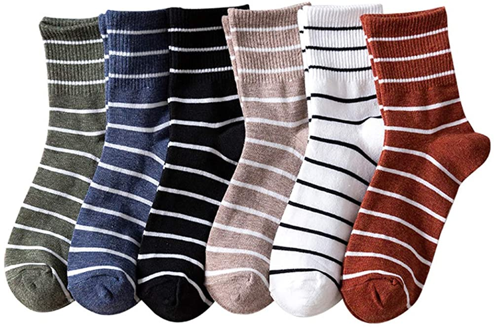 Ozzptuu Women's Striped Socks Casual Cotton High Ankle Sox Crew Socks for Women Ladies Girls 6-Pack