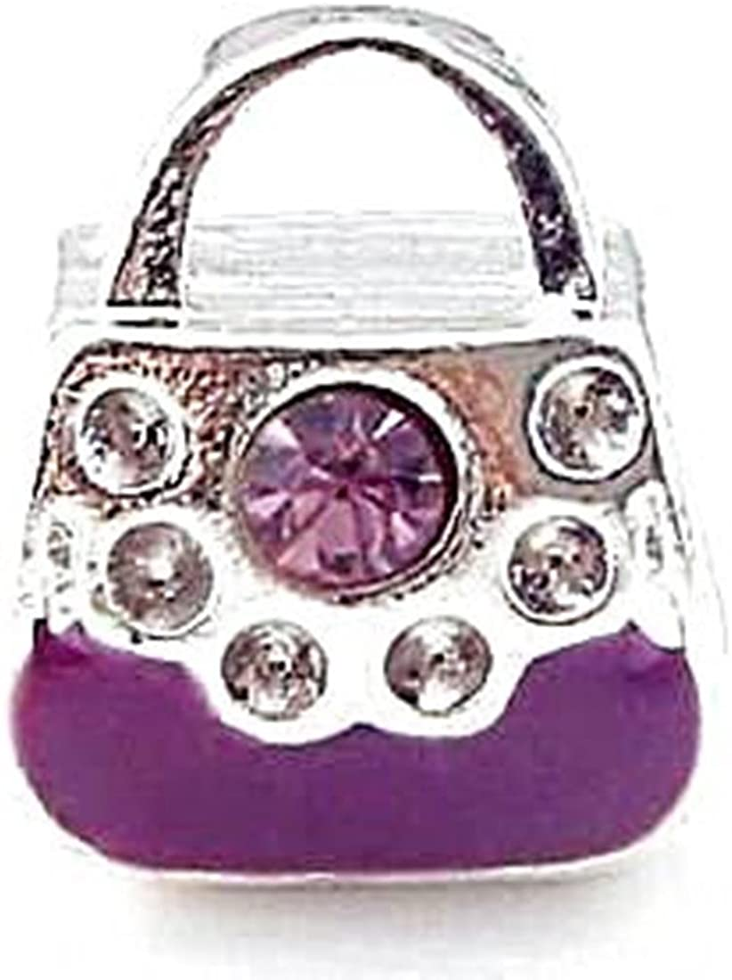 Charm Buddy Purple Crystal Handbag Charms Bead Fit Silver Pandora Style Bracelets