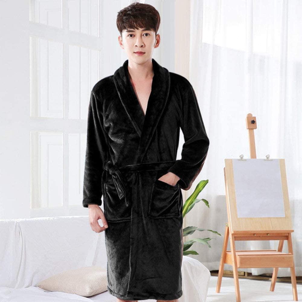 llwannr Bathrobe Robe Nightgown Sleep,Lovers Silk Soft Long Flannel Bath Robe Women Kimono Warm Bathrobe Bride Dressing Gown Bridesmaid Robes Wedding,Men Black,XL