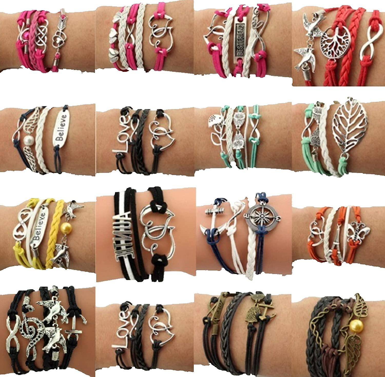 16pcs Handmade Braided Multi Layers Vintage Woven Rope Wrap Bangle Bracelets - Infinity Sister Love Best Friend (Bird Love)