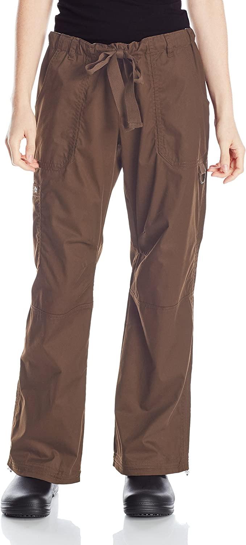 KOI Women's Plus Lindsey Ultra Comfortable Cargo Style Scrub Pants Sizes, Espresso, XXX-Large Petite